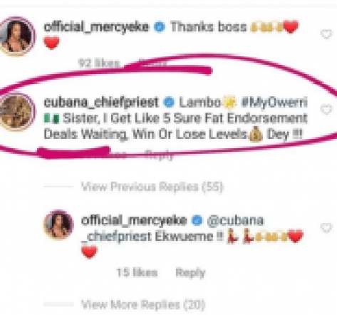 BBNaija (4) Cubana Chief priest promise to Mercy