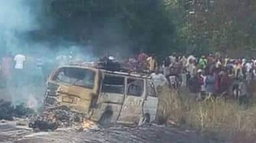 40 escape death as bus catches fire in Anambra