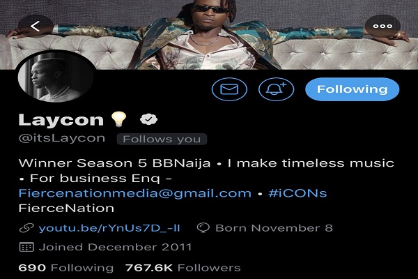 Fans excited as Laycon gets verified on Twitter