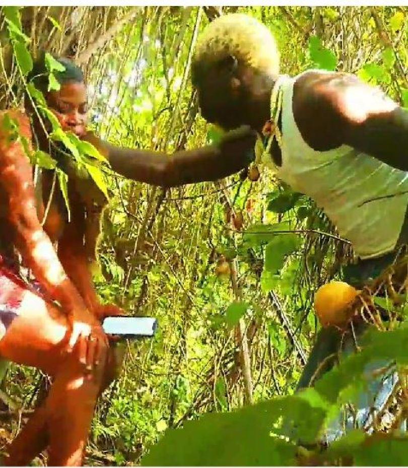 •Jolaoso and fellow porn artiste at the Osun Osogbo grove