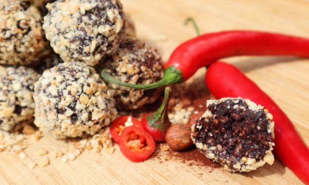 Spicy chocolate bliss balls with toasted hazelnut