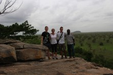 My friends Cal Larnerd and Haley Collins and I visit the Shai Hills Resource Reserve in Ghana, where we had a guide who worked at the park drive around with us in the taxi (on the right is our taxi driver, Yaw).