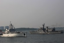 Our ship, the MV World Odyssey, was docked in Cochin, which is also the location of the Southern Naval Command of the Indian Navy. As such, we got the opportunity to spot a number of the Navy's ships steaming through, sometimes even conducting exercises. In this photograph, we have the INS Sagardhwani (A74) on the left, and the Sukanya class offshore patrol vessel INS Savitri (P53) on the right.