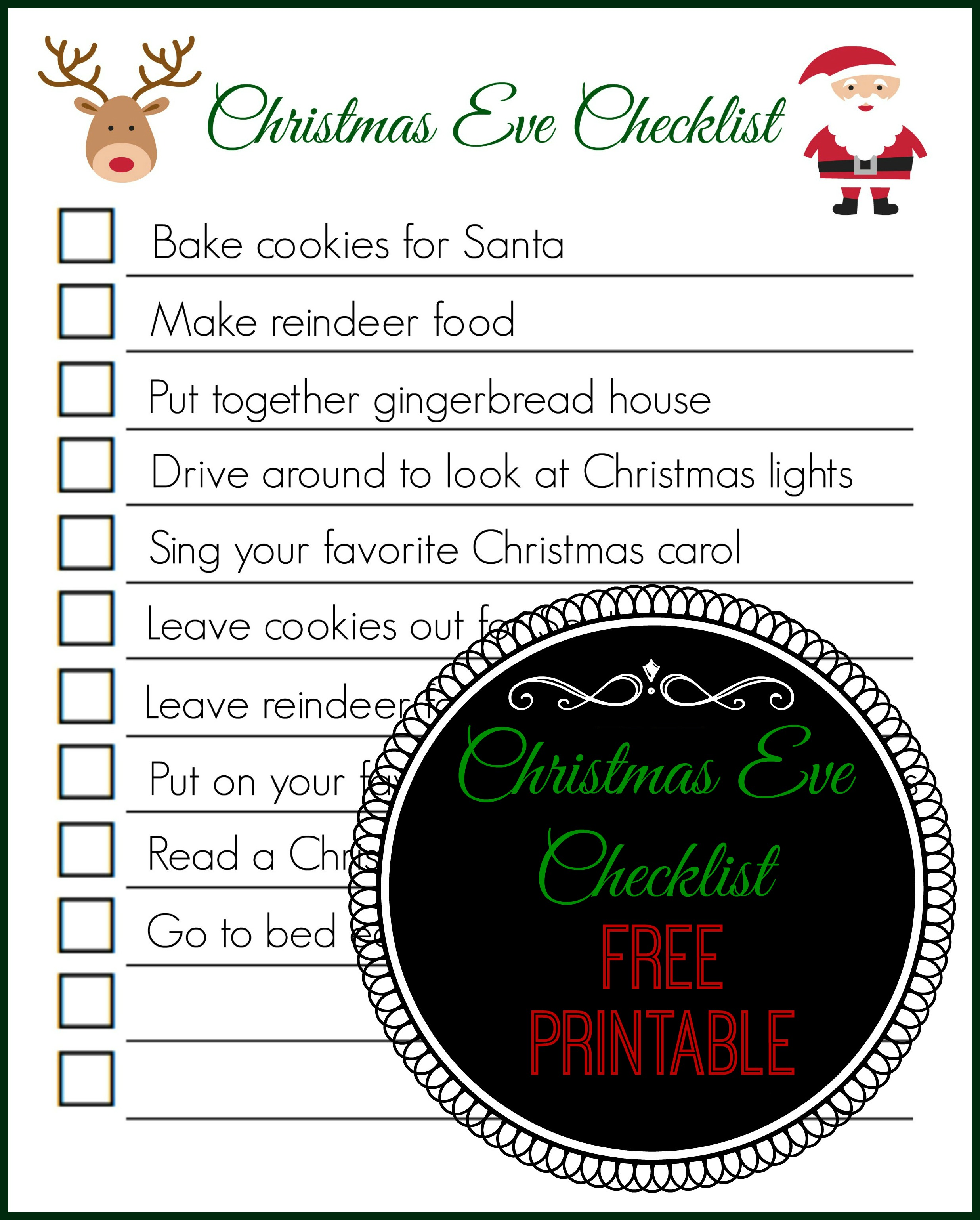 Christmas Eve Checklist Free Printable