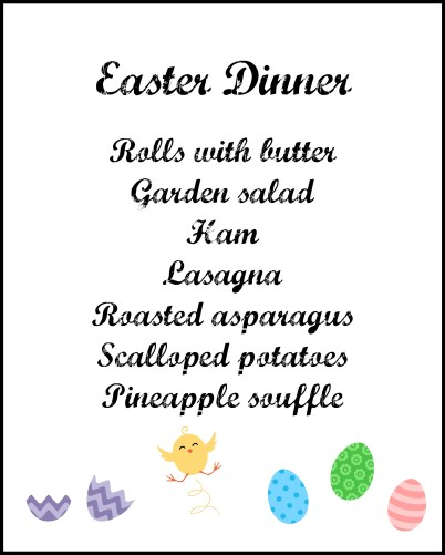 Elegant Easter Menu