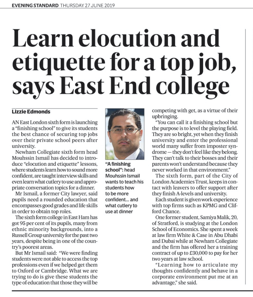 Learn Elocution and Etiquette For A Top Job Evening Standard