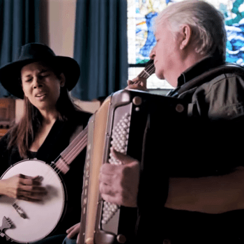 Rhiannon Giddens sings and plays banjo, Jeff Cunningham plays accordion