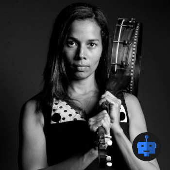 Rhiannon Giddens holds banjo over shoulder + blue robot emblem