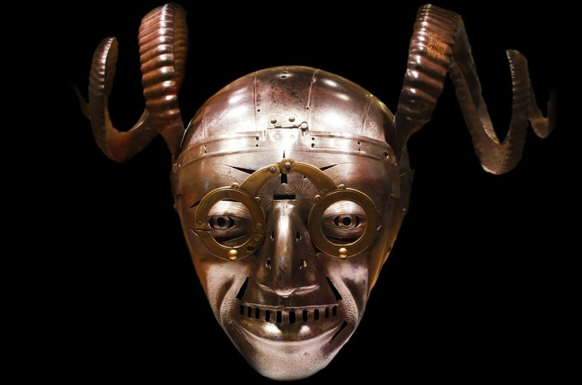 knight's helmet with mask and horns
