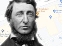 Henry David Thoreau portrait against a Google map of Concord, MA