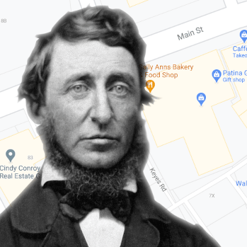 Henry David Thoreau portrait against a Google map of Concord, MA