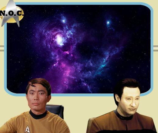Lt. Hikaru Sulu (Helm) and Cmdr. Data (Ops/Officer)