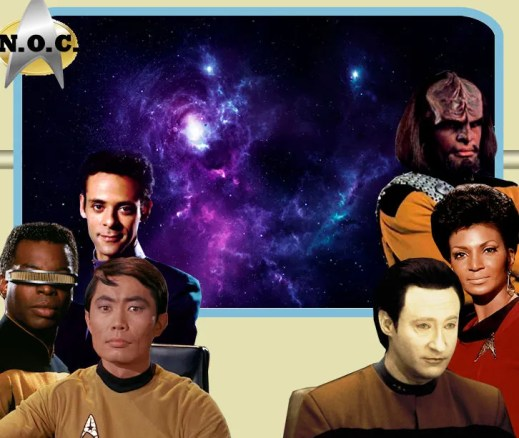 Lieutenant Julian Bashir (Chief Medical Officer) and Lieutenant Commander Worf (Chief of Security)