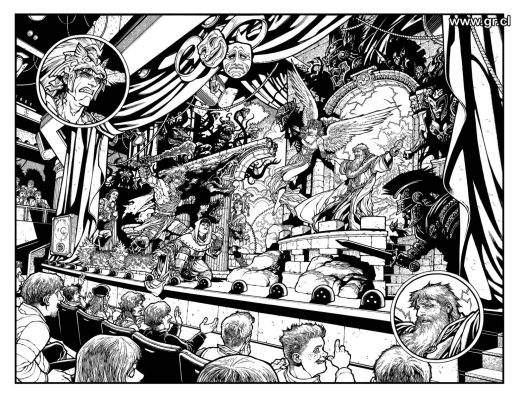 A panel from a later issue, that I promise looks even better in colour.