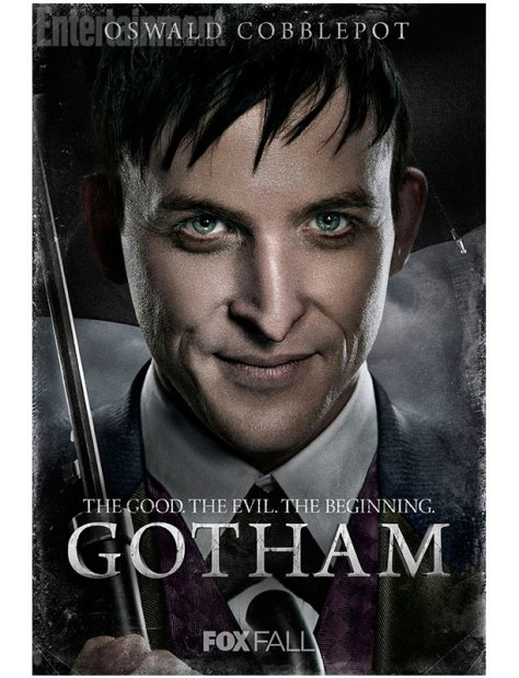 Middle aged man with green eyes and dark hair holding an umbrella.  The text on the image says: Oswald Cobblepot. The Good. The Evil. The Beginning. GOTHAM. Fox Fall