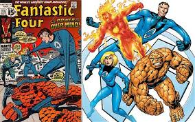 Image of an older version of The Fantastic Four. A comic book cover featuring Mr. Fantastic, The Invisible Woman, The Human Torch and The Thing