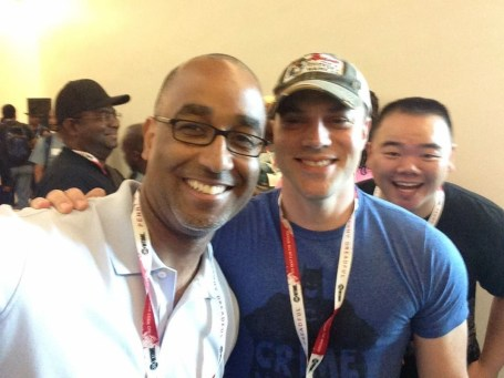 Me photobombing Shawn Martinbrough and Geoff Johns...