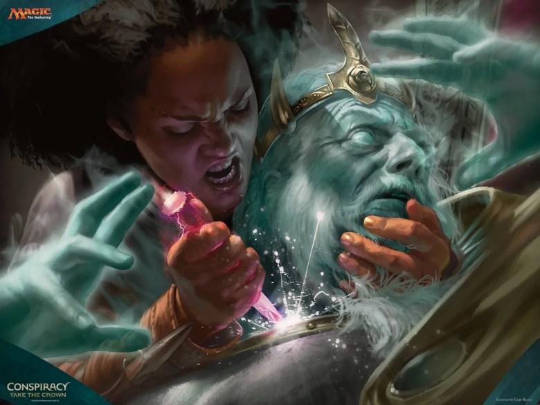 Kaya killing Ghost King Brago. Art by Chris Rallis