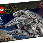 """LEGO® Star Wars™ 75257 – Millennium Falcon™ - $159.99 Own the Millennium Falcon from Star Wars: The Rise of Skywalker! Join Finn, Chewbacca, Lando Calrissian, Boolio, C-3PO, R2-D2 and D-O, as they travel the galaxy aboard the legendary Millennium Falcon. Like the version from Star Wars: The Rise of Skywalker, this one might have seen better days… but it can still do the Kessel Run in 12 parsecs… probably. So, raise the ramp, take the controls and get ready to head out on a LEGO® Star Wars™ voyage of adventure! Includes 7 LEGO® Star Wars™ characters: Finn, Chewbacca, C-3PO, Lando Calrissian and Boolio minifigures, plus R2-D2 and D-O LEGO droid figures. LEGO® Star Wars™ Millennium Falcon model external features include a rotating top and bottom gun turrets (bottom turret fits 2 minifigures), 2 spring-loaded shooters, a lowering ramp and an opening cockpit with space for 2 minifigures. Interior details include a cargo area with 2 containers, navigation computer with rotating chair, couch and Dejarik hologame table, galley, bunk, hidden smuggling compartment and a hyperdrive with repair tools. Weapons include Chewbacca's stud-firing bowcaster, Finn's blaster and Lando's blaster. Inspire role-play scenes from the Star Wars: The Rise of Skywalker movie with the legendary Corellian freighter. This LEGO® Star Wars™ set makes a great birthday gift, Christmas present or just a Star Wars collectible for any occasion. Starship measures over 5"""" (14cm) high, 17"""" (44cm) long and 12"""" (32cm) wide. Available October 4"""