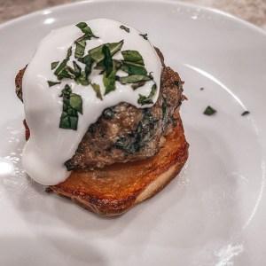 Lamb Bites with Potato Crostini