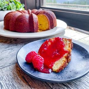 Pound Cake with Blood Bool Raspberry Glaze