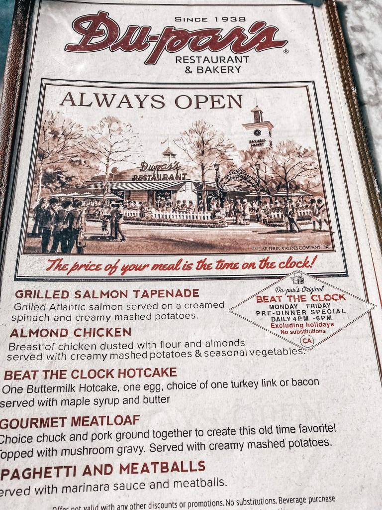dupars menu