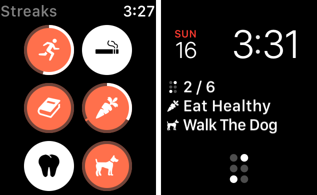 On the left, multiple tasks seen on the Watch app. On the right, Streaks showing on the watch face