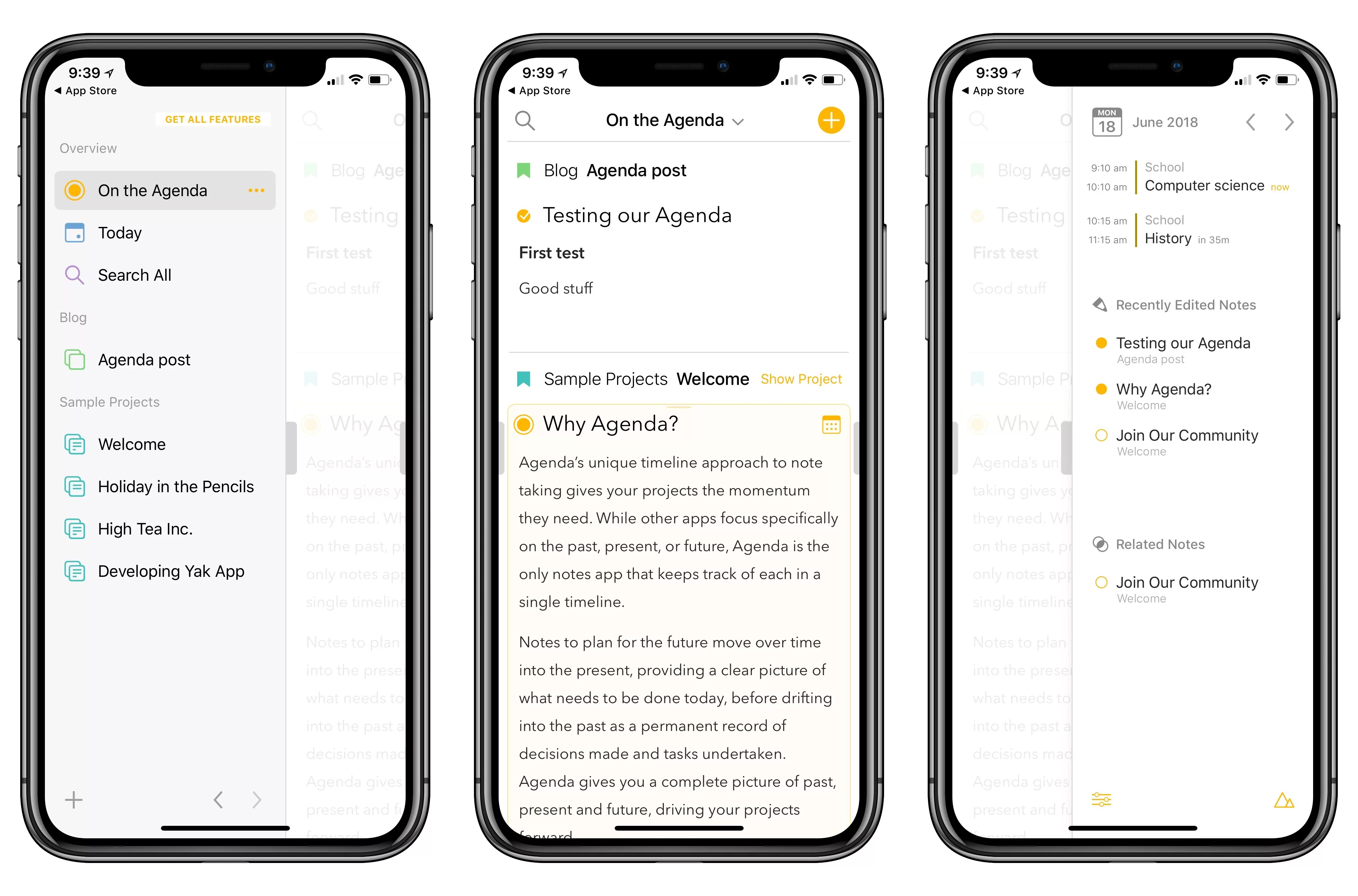 agenda notes app