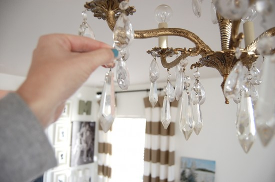 Here S A Re Enactment Of How I Just Looped The Hook Over One Existing Crystals Teardrop Shaped Came With Chandelier