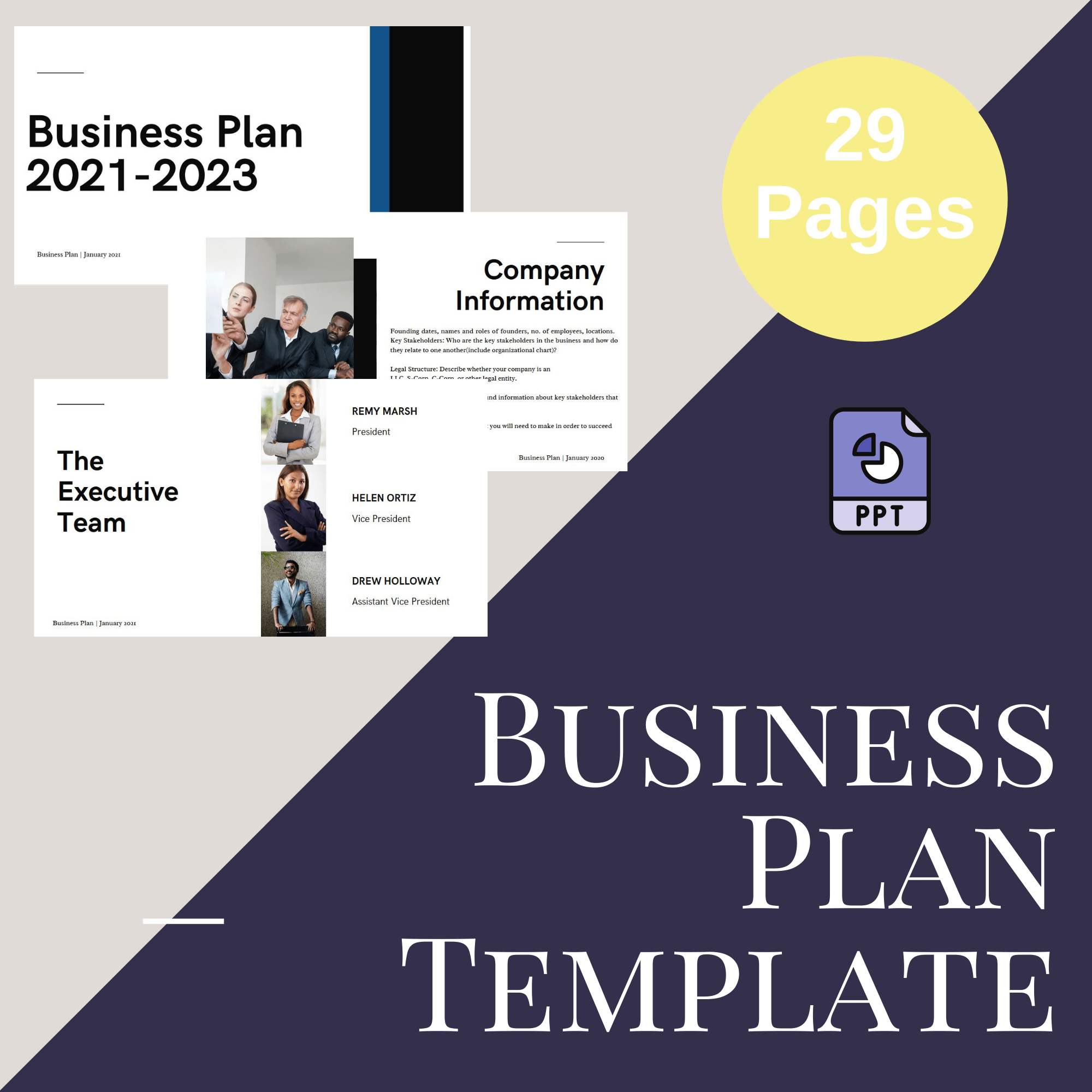 Business Plan Template Powerpoint and Downloadable