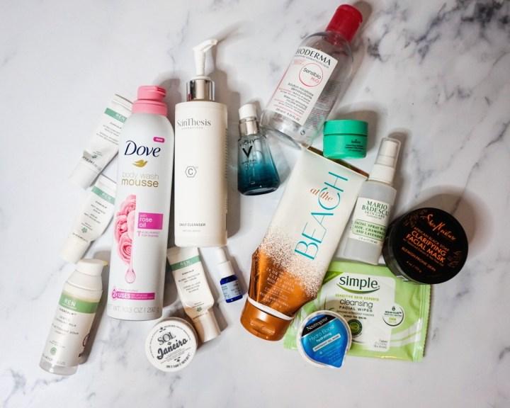Summer 2019 Beauty Empties - Skincare (Bioderma, Dove, Red, Neutrogena, Boscia, First Aid Beauty, Simple, sheaMoisture, Sol de Janeiro)
