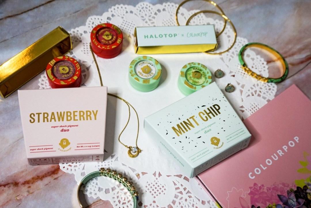 110+ Flat Lay Backdrop Ideas | ColourPop x Halo Top Collection Shot on a Doily Napkin