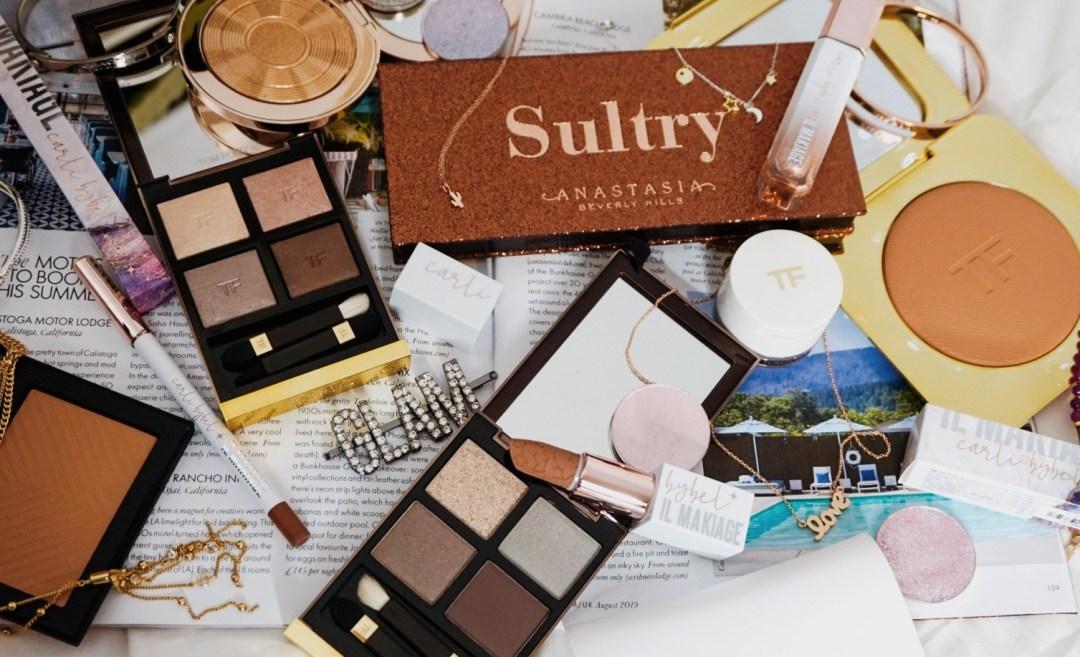 110+ Flatlay Backdrop Ideas | Luxury Beauty Flat Lay Shot over a Magazine & Bedding