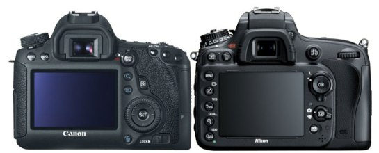 Canon 6D vs Nikon D600 Back