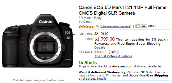 Canon 5D Mark II Available at $1799 « NEW CAMERA