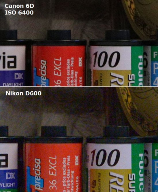 Canon 6D vs D600 High ISO Test - ISO 6400
