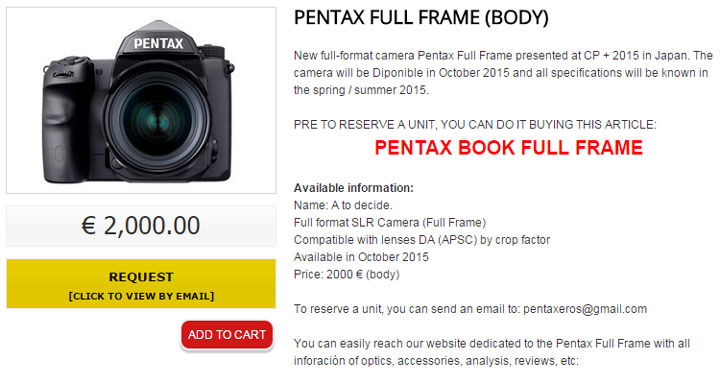 Pentax Full Frame DSLR Shipping Soon « NEW CAMERA