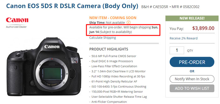 Canon-5DS-Shipping-details