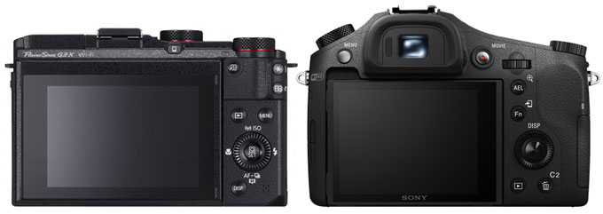 The Sony RX10 gives a prefect place for thumb-grip and button layout are more perfectly designed compared to Canon, the other major advantage is the presence of XGA OLED Electronic Viewfinder on the rear side of the camera.