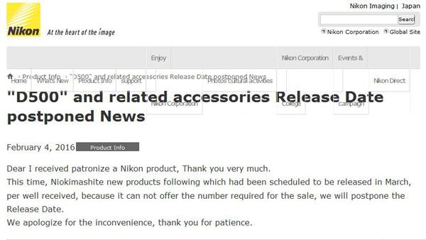 Fuji X-Pro 2, Nikon D500 and Sony A6300 Delayed « NEW CAMERA