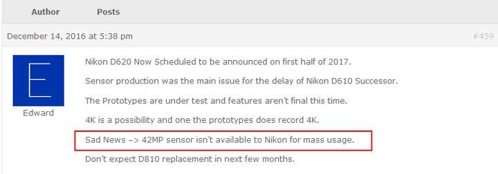Nikon sensor