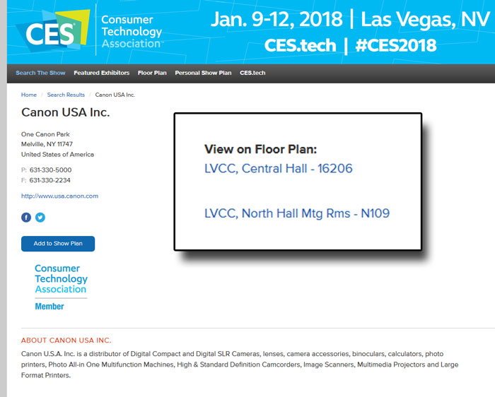 canon at CES 2018