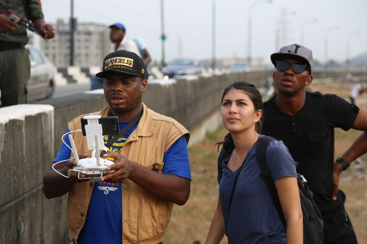 Director Shasha Nakhai works with Drone Operators James Amuta and Timothy Nofiu in Lagos.JPG