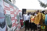 President Akufo-Addo being shown a schematic presentation of the Sky Train Project
