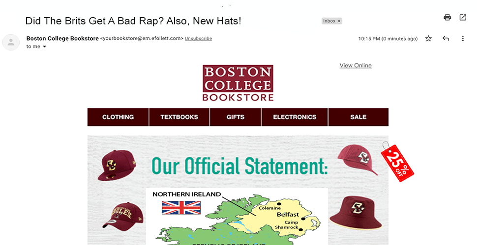 Bookstore Sends Official Statement On 1919 Anglo-Irish War, Also A 25% Off Coupon On A Hat