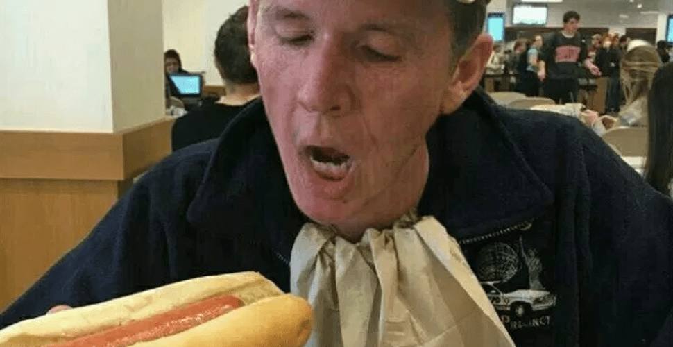 Old Dude In Rat Really Going In On Hot Dog