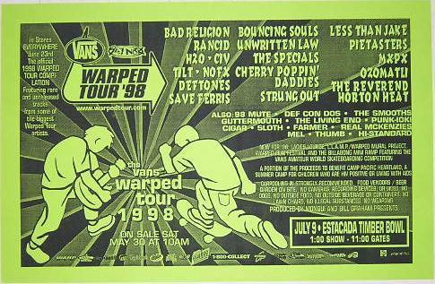 Warped-Tour-1998-Bad-Religion-Deftones-MXPX-Punk-Flyer-Concert-Poster-