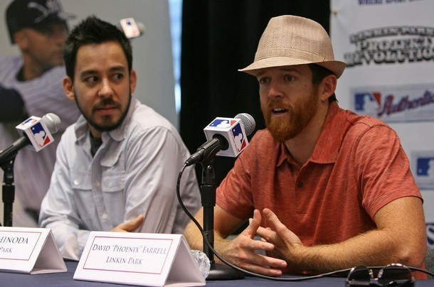 NEW YORK - JULY 24:  Musicians Mike Shinoda and David Farrell of the band Linkin Park speak onstage at the MLB donates $25,000 to Linkin Park's Music for Relief Program event at Champs Sports on July 24, 2008 in New York City.  (Photo by Bryan Bedder/Getty Images)