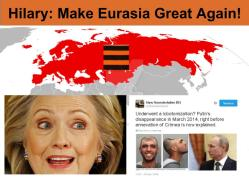"""The 2016 US elections explained: Trump: """"Make America Great Again"""" vs Hilary: """"Make an Orwellian Russia-Eurasia Great Again"""". The pro-American faction (Pentagon+FBI) fight the anti-American, Globalists' faction (CIA+US State Department+Obama's Administration+Hilary)"""