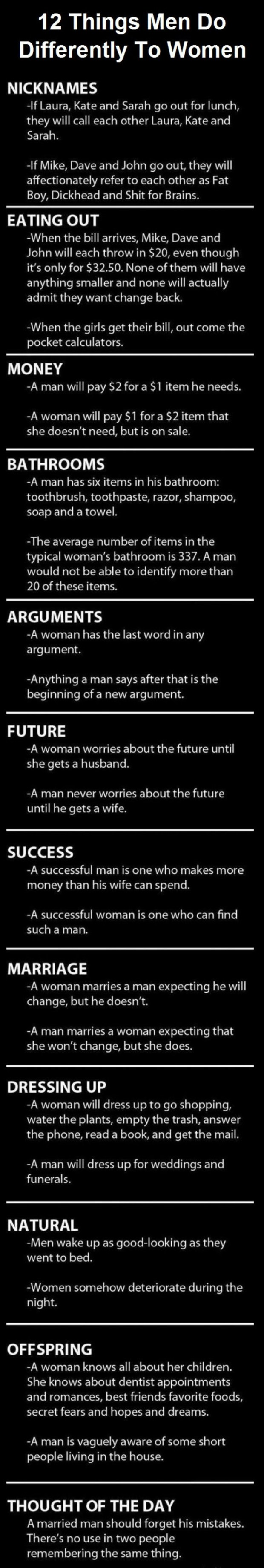 12 things men do differently than women